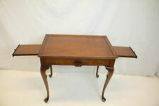 Queen Ann Walnut Side Table with Pull out Slides, Circa 1930's