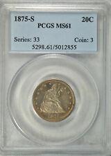 1875 S 20 cent, PCGS MS61