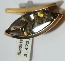 Anhänger  Munsteiner Cut Rauchquarz .750 Gold 38 x 15 mm  #  g 1458