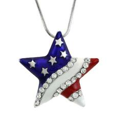 4th of July Patriotic Red White Blue American USA Flag Star Necklace Pendant