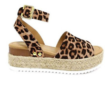 Women's Soda Topics Espadrille Low Platform Sandals with Ankle Strap - Leopard