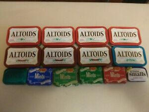 Altoids Cracker Barrel Mints 14 Empty Various Size Tin Metal Flip Top Containers