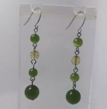Olive Green Emerald 5.5 Cm  Long Dark Silver Drop  Glass Bead Earrings A123