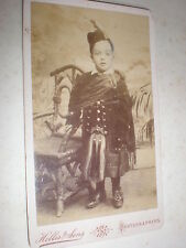 Cdv photograph boy scottish costume kilt sporran by Hellis London c1890s