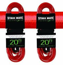 (2) NEW STAGE MATE CCTS-20 THERMO-SKIN 20' GUITAR CABLE RED BEST OFFER!!