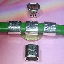 8 Abalorios Para Cuero Regaliz  12mm  T466  Plata Tibetana Leather Beads Pelle