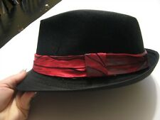 Black with red rock fedora hat boys girls infant toddler child infant  to 6 yrs