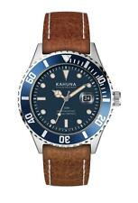 KAHUNA MEN'S BLUE DIAL BROWN TAN STRAP WATCH - KUS0129G - RRP:£50
