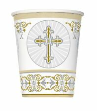 Unique Party 8 Silver Radiant Cross 9oz Paper Cups - Gold Communion Tableware