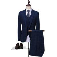 3 Stück Herren Anzüge Mode Männer Navy Blau Tweed Smoking Anzüge Hochzeitsanzug