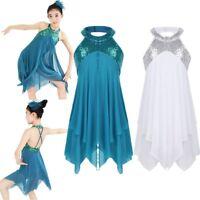 Girls Leotard Lyrical Ballet Latin Dress Dance Costume Glitter Camisole Skirt
