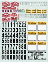 Carpena decals for cars 1/18 - Monte Carlo Rally Plates 2001/2002 (Ref 18-35)