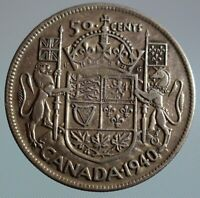 1940 Canada 50 cent coin - this King George VI half dollar is 80% silver