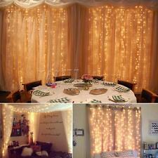 3x3M UK LED Warm White LED Light Curtain Fairy String Lights Xmas Wedding Party