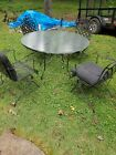 Vintage Wrought Iron Patio Furniture Set Table & 4 Chairs Glass Top