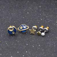5 Pcs Enamel Universe Moon Stars Stud Earrings Asymmetric Womens Jewelry