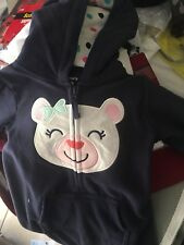 NWT Carter's Navy Blue Fleece Bear Playwear Size 18 Months For Girls