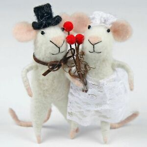 Wedding Mice hand made needle felted for cheese wedding cake topper