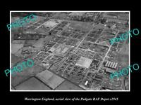 OLD POSTCARD SIZE PHOTO WARRINGTON ENGLAND AERIAL VIEW OF RAF PADGATE c1945