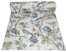 Indian Handmade Kantha Quilt Throw Bedspread Bird Print Bedding Pure Cotton Art