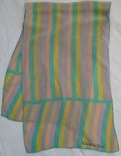 395c3428df72 -Superbe Echarpe CHRISTIAN DIOR 100% soie (T)BEG vintage scarf