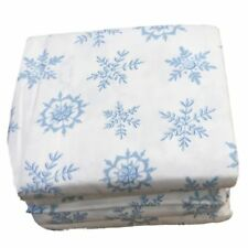 Cuddle Duds Flannel Sheet Set Blue & White Snowflake Queen Bed Sheets Bedding