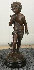 Bronzefigur Knabe mit Laute Putte Engel Skulptur Junge Figur Mamorsockel Bronze