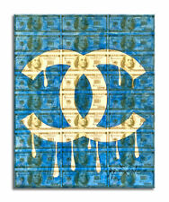 Blue – Original Dollar Collage Painting on Paper, Signed, COA by Dr8 Love