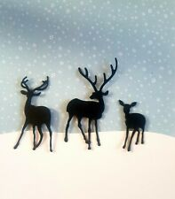 Die Cut Tree /& Deer Family Silhouette Card Toppers  Card Making Candle Jar White