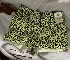 BNWT DENIM & CO Ladies Neon Yellow Black Leopard Print High Waist Shorts Size 10