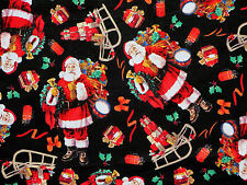 SANTA  MERRY CHRISTMAS  TOYS  SLEIGH  DAVID TEXTILES 100% COTTON FABRIC  YARDAGE