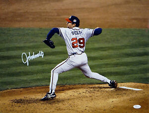 John Smoltz Autographed Atlanta Braves 16x20 Side View Pitching Photo- JSA Auth