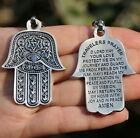 Hamsa Hand KEYCHAIN Jewish English Traveler Prayer, Key Ring Made in Israel