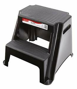 Rubbermaid RM-P2 2-Step Molded Plastic Stool with Non-Slip Step Treads