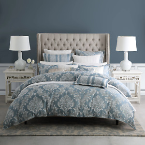 Bellevue Blue Rococo Textured  Quilt Doona Duvet Cover Set By Davinci