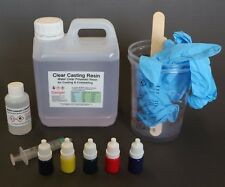 Casting Resin Water Clear Kit With Translucent Pigments -500g , 1kg , 2kg & 5kg