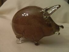NICE VINTAGE CLEAR ART GLASS PIG WITH SAND-LIKE INSIDE BY COLONY, ITALY - EUC