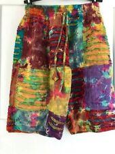 MEN'S Thigh Length Tie Dye Cotton Rainbow Shorts Size M FESTIVAL Side Pockets