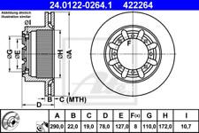2x Bremsscheibe für Bremsanlage Hinterachse ATE 24.0122-0264.1