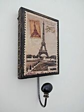 Eiffel Tower wall hook coat hanger wood metal brown beige black