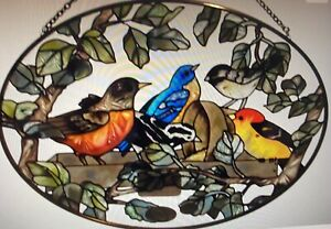 "NEW Joan Baker Designs Hand Painted Suncatcher ""Birds of a Feather"" 9"" x 6 1/2"""