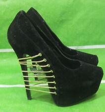 "new ladies Black 6.5""High Heel  2.5""Platform Pointy Toe Gold Elastic Size 10"