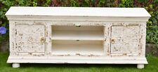 Rustic White Carved Shabby Chic French Country TV Stand Entertainment Unit