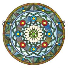 "16.5"" Victorian Tiffany-Style Bold Geometric Stained Glass Round window Panel"