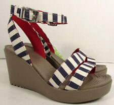 Crocs Womens Leigh Graphic Wedge Sandal Shoes, Nautical Navy/White, US 4
