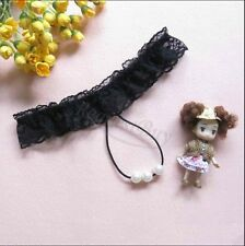 Women's Open Crotch Lace Thong with Pearls G String Sexy Beading Panties Black