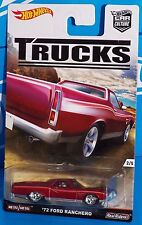 Hot Wheels 2016 Car Culture TRUCKS Series '72 Ford Ranchero Red w/ Real Riders