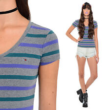 Vtg 90s Striped TOMMY HILFIGER Crop Top Stretchy Grunge Clueless Baby Tee XS S