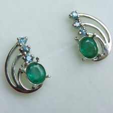 Natural Emerald & zircon 925 Silver 9ct 14k 18k yellow white Gold stud earrings