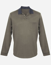Mens Olive Polo UPF50+ Shirt Top Long Sleeve